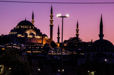 moschea istanbul con tramonto