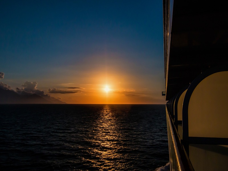 tramonto in battello