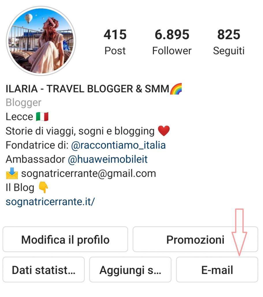 tasto email cliccabile su instagram