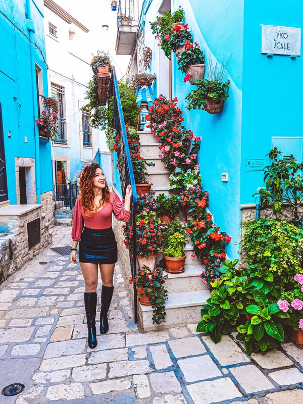 sognatricerrante nel borgo di casamassima. paretti azzurre, piante e fiori