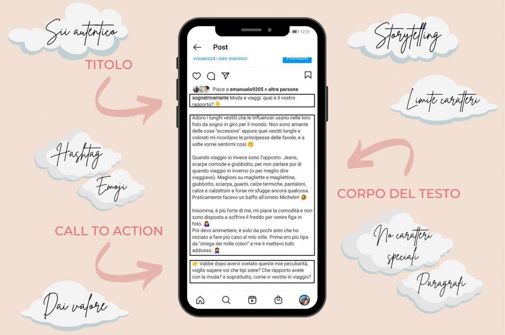 come scrivere una caption su instagram