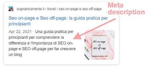 anteprima meta description articolo su differenza tra seo on site e seo off site